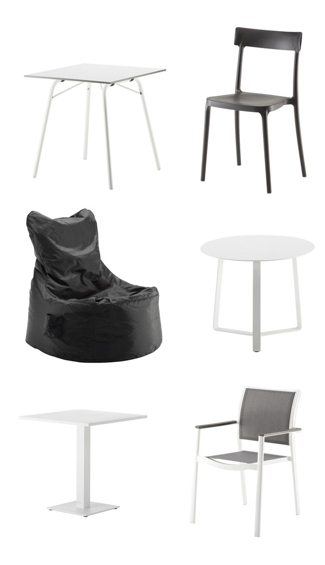 valkoinen, pöytä, parveke, tuoli, musta
