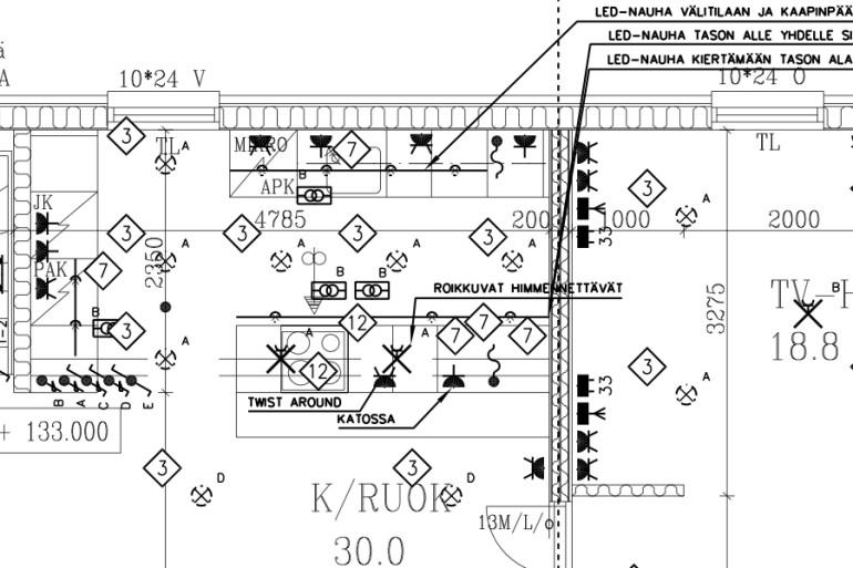 LVIS suunnitelmat - sähköä, putkia ja puhaltimia
