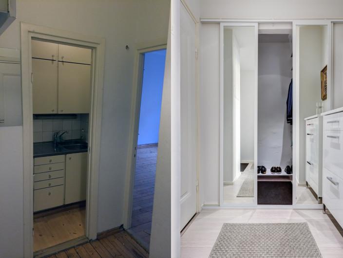 remontoidun kaksion vaatehuone ennen ja jälkeen